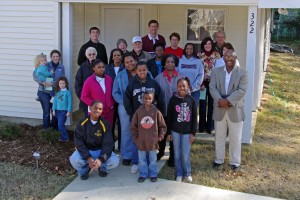 Hall Family at their Habitat Home Dedication with Habitat supporters